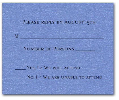 Shimmery Blue RSVP Cards