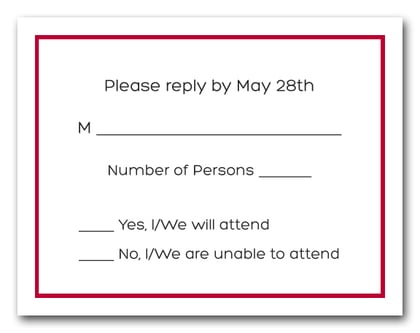 Crimson Border RSVP Card #8