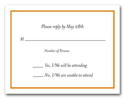 Orange Border RSVP Card #8