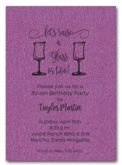 Wine Glasses on Shimmery Purple Party Invitations – Purple Party Invitations