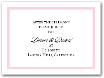 Reception Card Pink Border #5