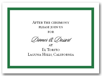 Reception Card Dark Green Border #5