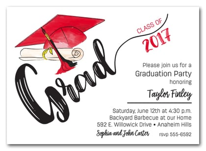 Red Black Tassel on Red Cap Graduation Party Invitations – Red Party Invitations