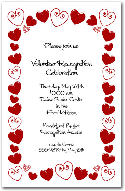 Red Hearts Border Party Invitations