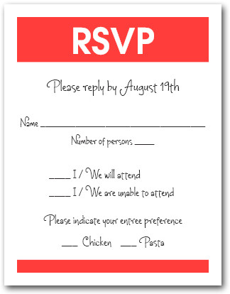 White & Scarlet RSVP Card #3