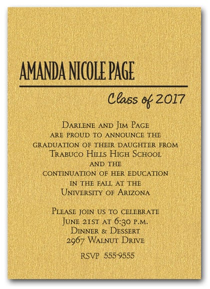 Shimmery Gold Classic Graduation