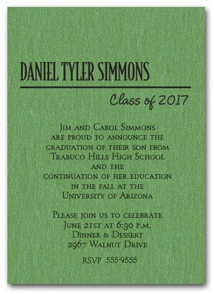Shimmery Green Classic Graduation