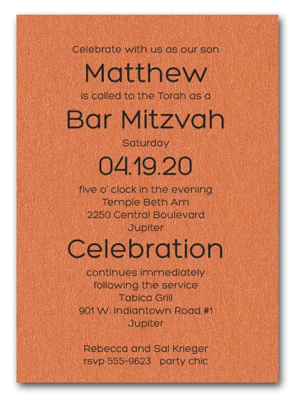 Shimmery Orange Bold Bar Mitzvah