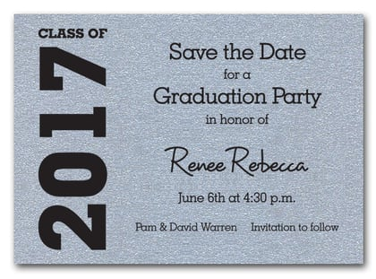 Graduation Save the Date Silver