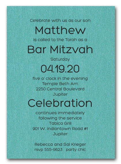 Shimmery Turquoise Bold Bar Mitzvah