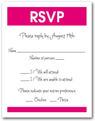 White & Shocking Pink RSVP Card #3