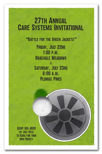 sink it golf invitations  golf outing invitations  golf birthday invitations
