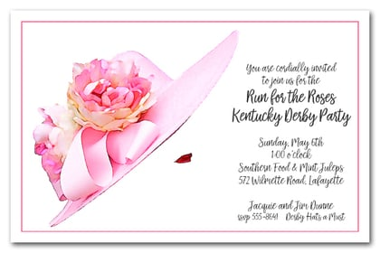 Stunning Floral Pink Kentucky Derby Hat Party Invitations – Hat Party Invitation