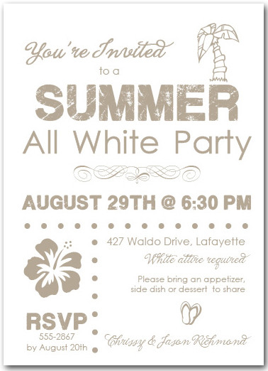 white party, Party invitations
