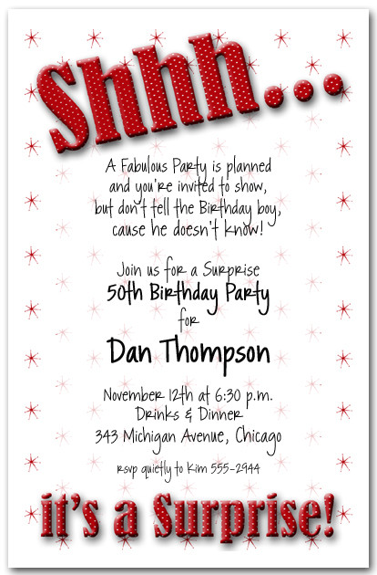 Shhh Red Polka Dot Birthday Party Invitations