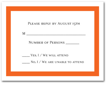 Orange Border RSVP Cards #5