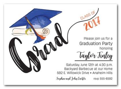 Blue Orange Tassel on Blue Grad Cap Graduation Party Invitations – Grad Party Invites