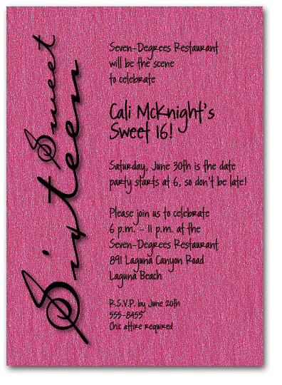 Shimmery Hot Pink Sweet Sixteen