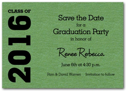 Graduation Save the Date Green