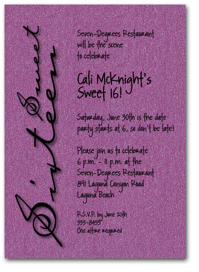 Shimmery Purple Sweet Sixteen