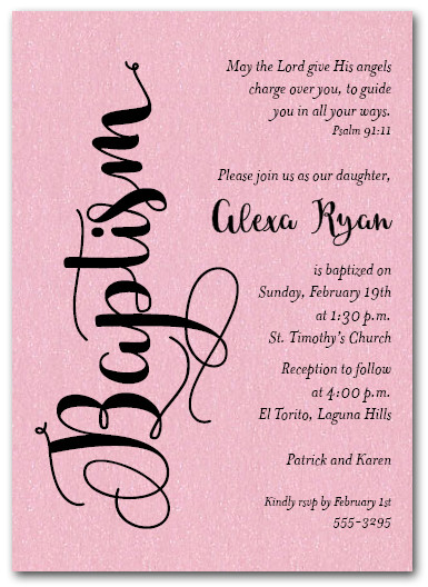 Shimmery Pink Baptism Invitations Girl Baptism Invitations