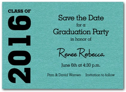 Graduation Save the Date Teal