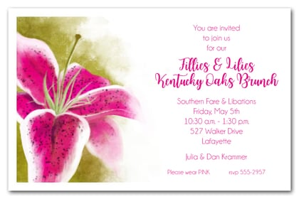 Kentucky Oaks Lily Horse Racing Party Invitations - Come see them all at Announcingit.com