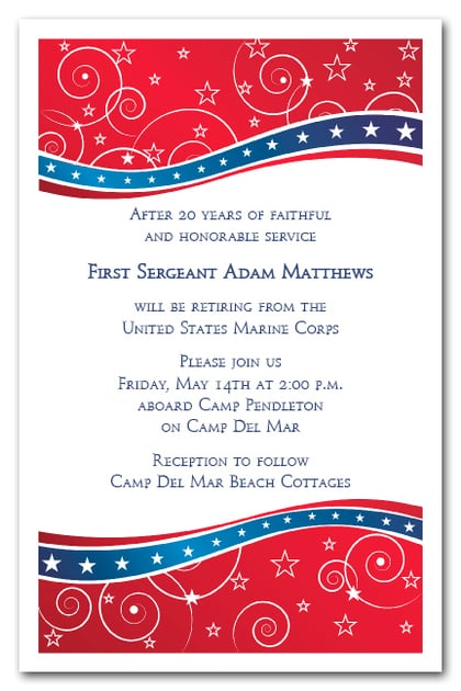 red and blue swirls & stars invitations, 4th of july, military, Party invitations