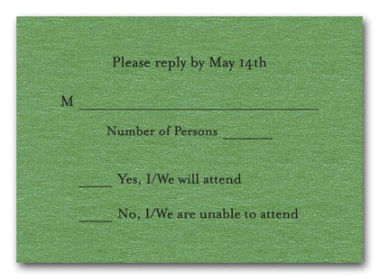 Shimmery Green RSVP Cards