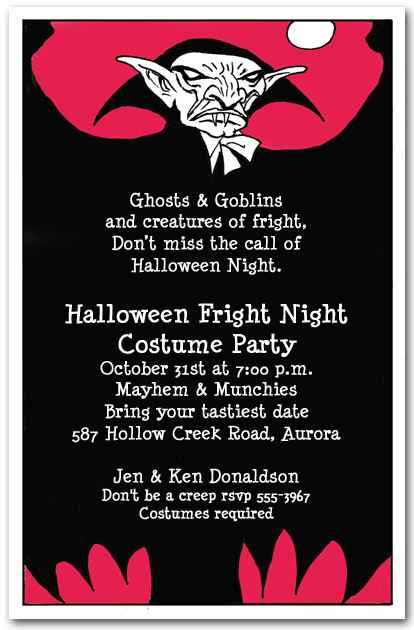 Vampire Scare Halloween Invitations