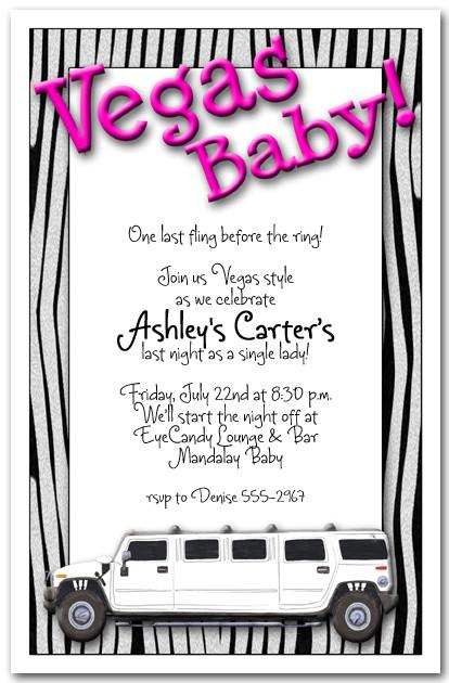 Vegas Baby on Zebra Border Party Invitation Bachelorette Party – Zebra Party Invitations