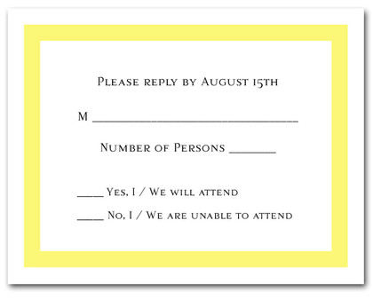 RSVP Cards Yellow Border #5