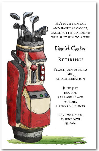 red golf bag invitations  golf party invitations