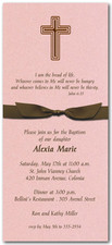 Cross on Pink with Brown Bow Baptism