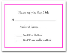 Bright Pink Border RSVP Card #8