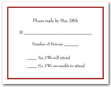 Burgundy Border RSVP Card #8