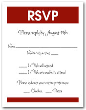 White & Burgundy RSVP Card #3