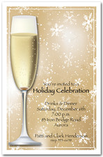 Champagne on Gold Snowflakes Holiday Party Invitations