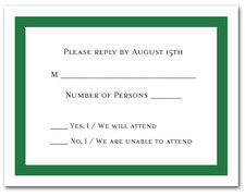 Dark Green Border RSVP Cards #5