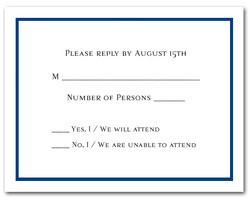 Deep Marine Blue Border RSVP Card #8
