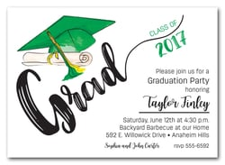 Green & Yellow Tassel on Green Grad Cap