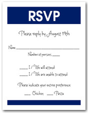 White & Navy RSVP Card #3