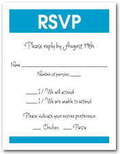 White & Peacock Blue RSVP Card #3