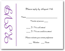 Purple on White RSVP Cards #6