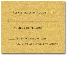 Shimmery Gold RSVP Cards