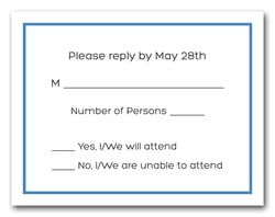 Dazzling Blue Border RSVP Card #8