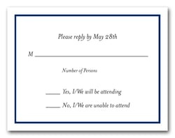 Navy Border RSVP Card #8