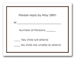 Saddle Brown Border RSVP Cards #8