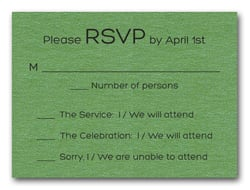 Shimmery Green Bold Bar Mitzvah RSVP
