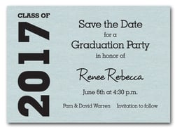 Graduation Save the Date Aqua